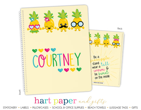 Pineapple Hearts Personalized Notebook or Sketchbook School & Office Supplies - Everything Nice