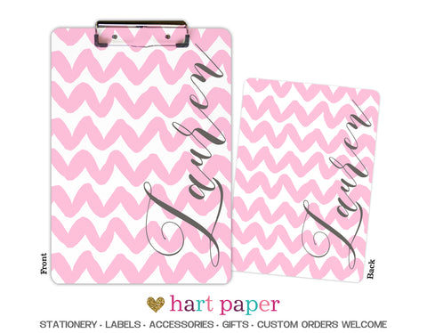 Pink Chevron Personalized Clipboard School & Office Supplies - Everything Nice