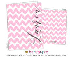 Pink Chevron Personalized 2-Pocket Folder