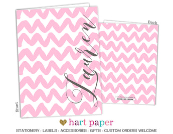 Pink Chevron Personalized 2-Pocket Folder School & Office Supplies - Everything Nice