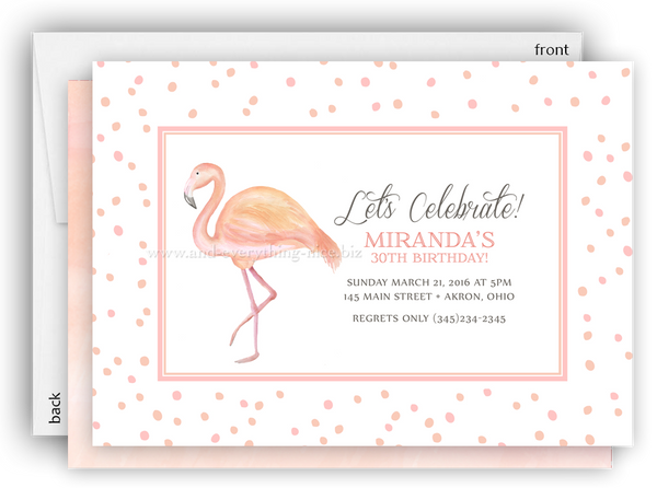 Pink Flamingo III Party Invitation • Baby Shower Birthday • Any Colors