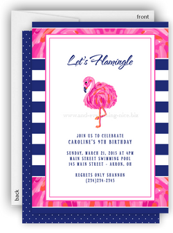 Sassy Pink Flamingo Party Invitation • Baby Shower Birthday • Any Colors Kids Birthday Invitations - Everything Nice