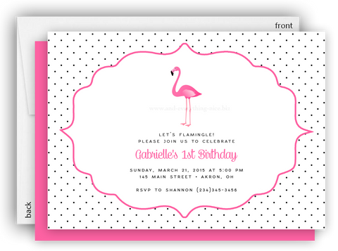 Pink Flamingo II Party Invitation • Baby Shower Birthday • Any Colors