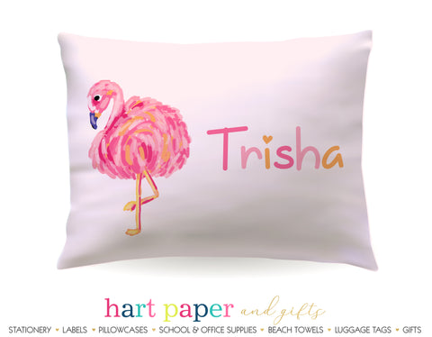 Pink Flamingo Personalized Pillowcase Pillowcases - Everything Nice