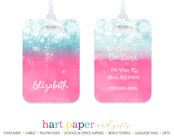 Blue & Pink Sparkles Luggage Bag Tag School & Office Supplies - Everything Nice