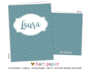 Blue Polka Dots Personalized 2-Pocket Folder School & Office Supplies - Everything Nice