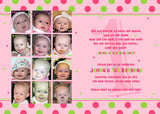 Year of Fun Polka Dots Collage Photo Birthday Party Invitation • Any Colors Kids Photo Birthday Invitations - Everything Nice
