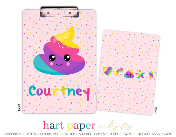 Rainbow Poop Emoji Personalized Clipboard School & Office Supplies - Everything Nice