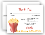 Popcorn Thank You Cards Note Card Stationery •  Fill In the Blank Stationery Thank You Cards - Everything Nice