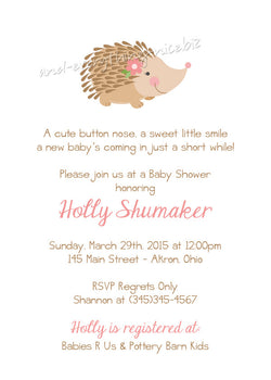 Porcupine Party Invitation • Baby Shower Birthday • Any Colors