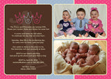 Prince Princess Twin Siblings Photo Birthday Party Invitation • Any Colors Kids Photo Birthday Invitations - Everything Nice