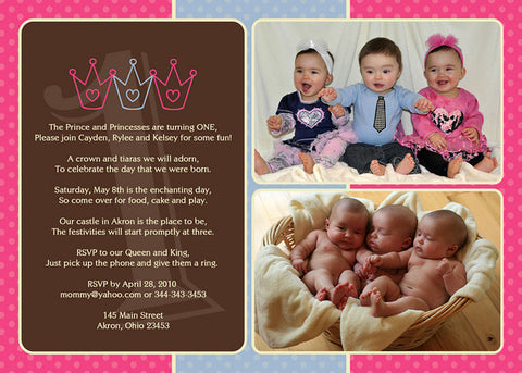 Prince Princess Twin Siblings Photo Birthday Party Invitation O Any Colors Kids Invitations