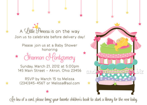 Princess and The Pea Party Invitation • Baby Shower Birthday • Any Colors Baby Shower Invitations - Everything Nice