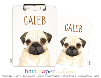 Pug Dog Personalized Clipboard School & Office Supplies - Everything Nice