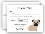 Pug Dog Thank You Cards Note Card Stationery •  Fill In the Blank Stationery Thank You Cards - Everything Nice