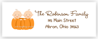 Pumpkin Twins Return Address Labels • Self Adhesive Stickers Return Address Labels - Everything Nice