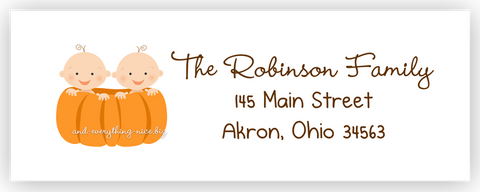 Pumpkin Twins Return Address Labels • Self Adhesive Stickers