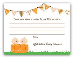 Pumpkin Twins •  Advice or Wishes Card