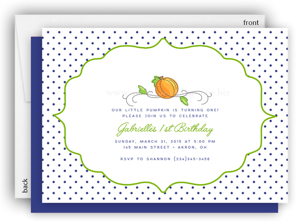 Pumpkin Fall Harvest Party Invitation • Baby Shower Birthday Picnic • Any Colors
