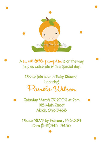 Pumpkin Party Invitation • Baby Shower Birthday • Any Colors