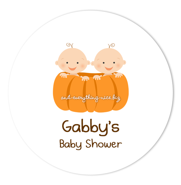 "2"" Round Pumpkin Twins Favor Labels  •  Self Adhesive Stickers Round Labels - Everything Nice"