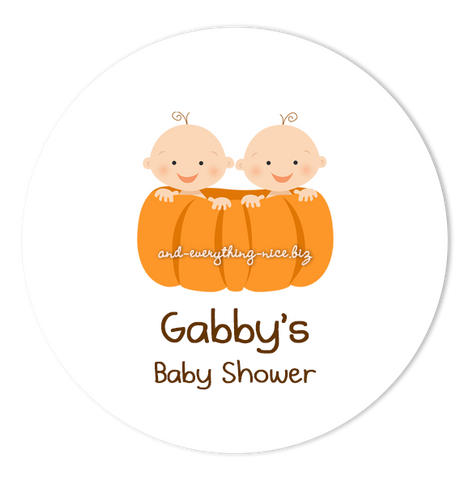 "3"" Round Pumpkin Twins Favor Labels • Self Adhesive Stickers Round Labels - Everything Nice"