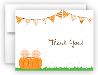 Pumpkin Twins Baby Thank You Cards Note Card Stationery •  Flat or Folded Stationery Thank You Cards - Everything Nice