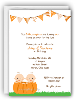 Pumpkin Twins Party Invitation • Baby Shower Birthday • Any Colors Baby Shower Invitations - Everything Nice