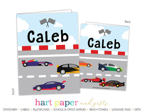 Race Car Personalized 2-Pocket Folder School & Office Supplies - Everything Nice