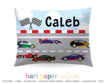 Race Cars Personalized Pillowcase Pillowcases - Everything Nice