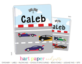 Race Cars Personalized Notebook or Sketchbook