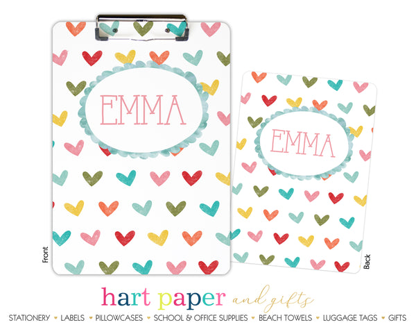 Rainbow Hearts b Personalized Clipboard