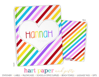 Rainbow Stripes & Heart Personalized Notebook or Sketchbook School & Office Supplies - Everything Nice