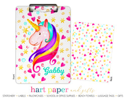 Rainbow Unicorn d Personalized Clipboard