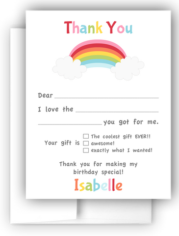 Rainbow Thank You Cards Note Card Stationery •  Fill In the Blank Stationery Thank You Cards - Everything Nice