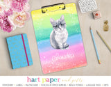 Rainbow Cat Kitten Personalized Clipboard School & Office Supplies - Everything Nice