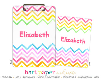 Rainbow Chevron Personalized Clipboard School & Office Supplies - Everything Nice