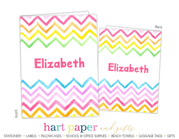 Rainbow Chevron Personalized 2-Pocket Folder