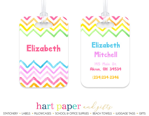Rainbow Chevron Luggage Bag Tag School & Office Supplies - Everything Nice