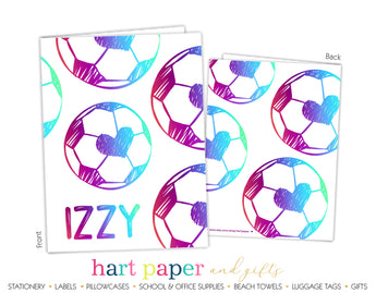 Rainbow Heart Soccer Ball Personalized 2-Pocket Folder School & Office Supplies - Everything Nice