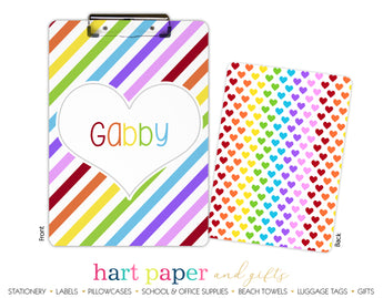 Rainbow Hearts & Stripes Personalized Clipboard School & Office Supplies - Everything Nice