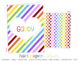 Rainbow Stripes & Hearts Personalized 2-Pocket Folder School & Office Supplies - Everything Nice