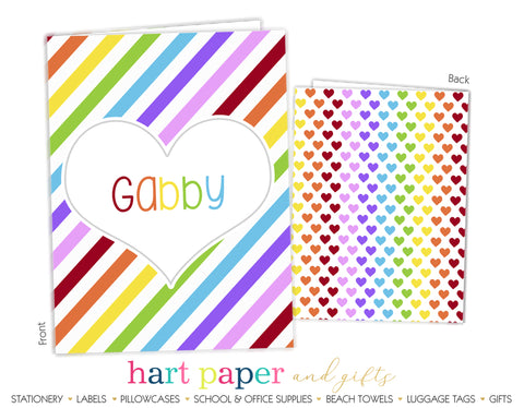 Rainbow Stripes & Hearts 2-Pocket Folder