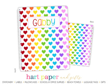 Rainbow Hearts Personalized Notebook or Sketchbook
