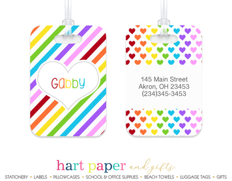Rainbow Hearts & Stripes Luggage Bag Tag School & Office Supplies - Everything Nice