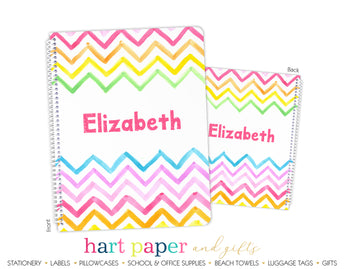 Rainbow Chevron Personalized Notebook or Sketchbook