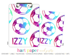 Rainbow Hearts Soccer Ball Personalized Clipboard