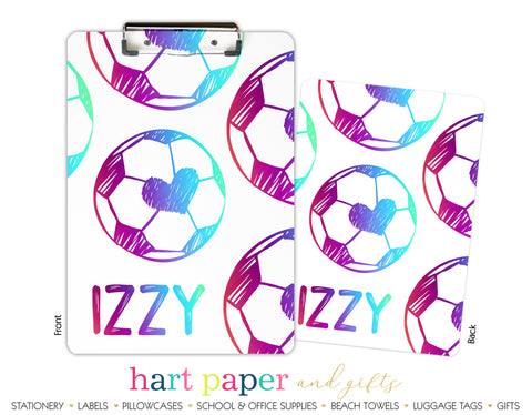 Rainbow Hearts Soccer Ball Personalized Clipboard School & Office Supplies - Everything Nice
