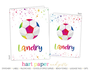 Rainbow Soccer Ball Personalized 2-Pocket Folder School & Office Supplies - Everything Nice