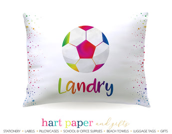 Rainbow Soccer Ball Personalized Pillowcase Pillowcases - Everything Nice